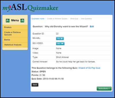 Quizmaker Question Screen