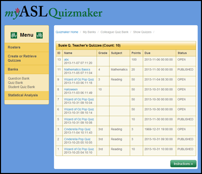 Quizmaker Quiz Bank Screen