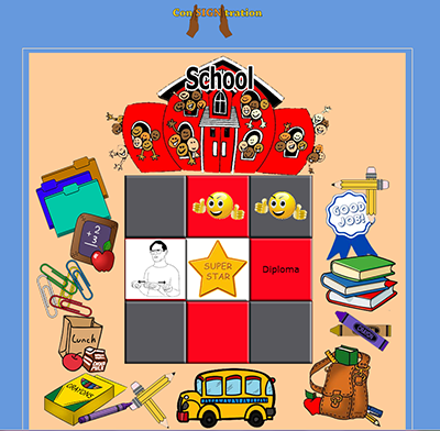 Con-SIGN-tration gameboard for School category
